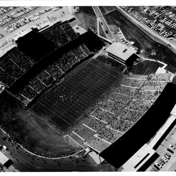 Aerial view of Carter Stadium on dedication day, October 8, 1966.