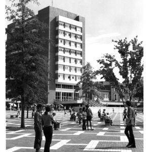 University Plaza, the Brickyard and D. H. Hill Jr. Library