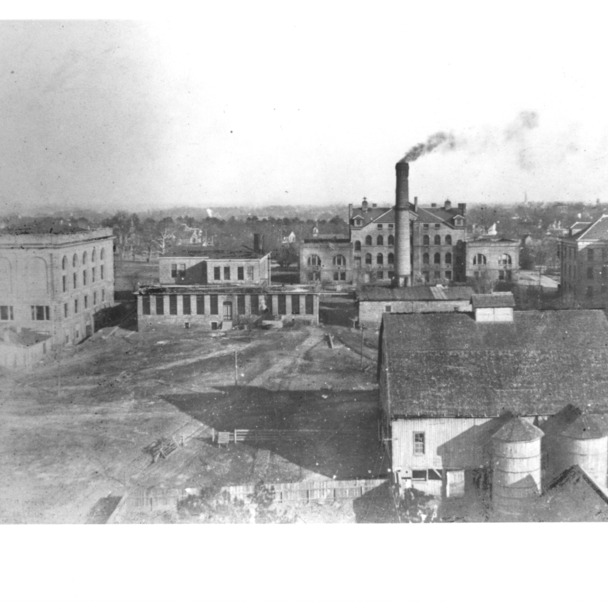 View of North Carolina College of Agriculture and Mechanic Arts from the top of the old power plant chimney