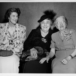 Home Demonstration pioneer Jane S. McKimmon with agent Ruth Current and actress Jane Darwell for radio dramatization of McKimmon's life