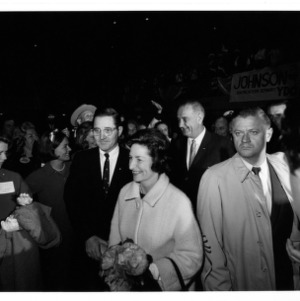 President Lyndon Johnson and Ladybird at Democratic campaign rally held in Reynolds Coliseum, October 6, 1964
