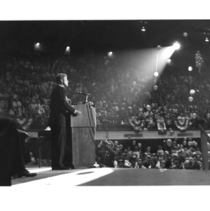 Democratic Presidential candidate John F. Kennedy addressing an estimated crowd of 8,000 at Reynolds Coliseum