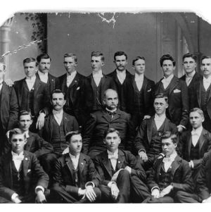 President Alexander Q. Holladay and the first graduating class, 1893