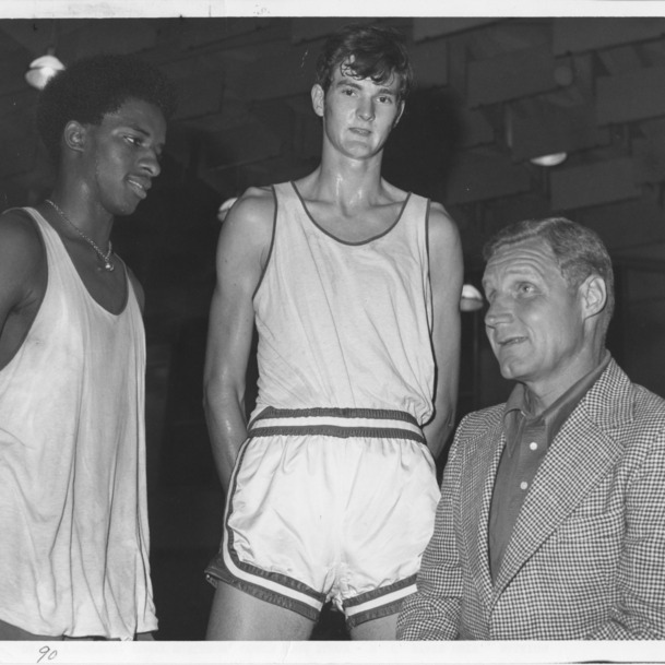David Thompson, Tommy Burleson, and Coach Norm Sloan, N. C. State basketball