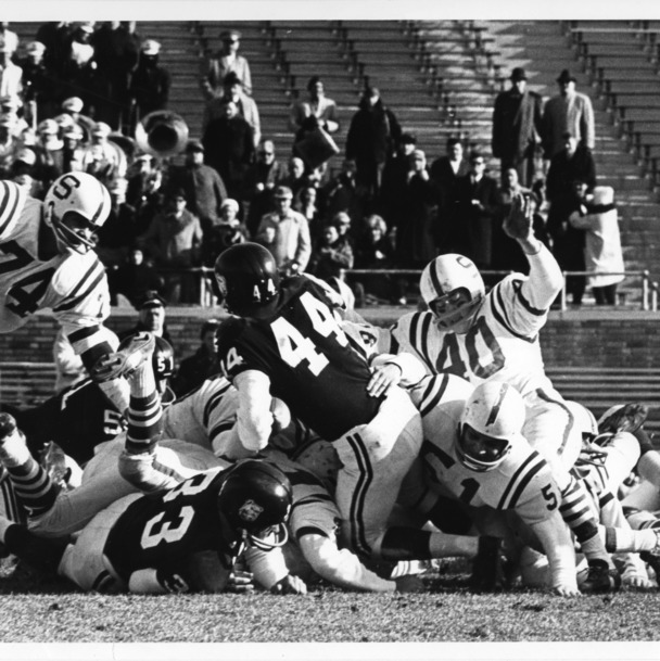 Atlantic Coast Conference co-champions North Carolina State playing Mississippi State in the 1963 Liberty Bowl in Philadelphia