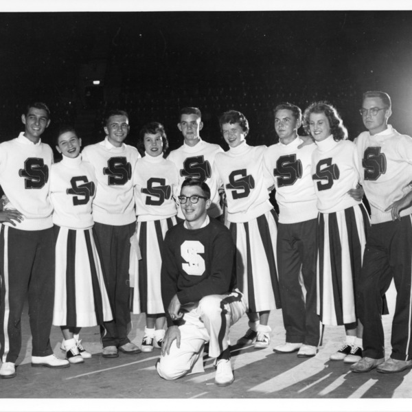 North Carolina State College chearleaders, September 22, 1955
