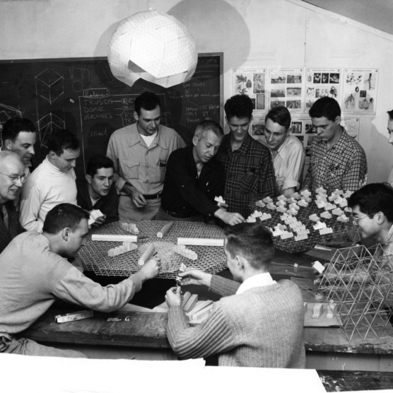 Buckminster Fuller and work project groups design a geodesic cotton mill