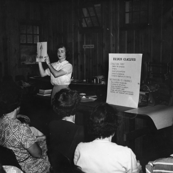 Design class, Western District Craft Workshop, June 1952. Mrs. Frances [Puett?], Cherokee County, instructor