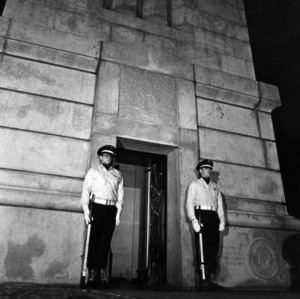 Robert Bethke and Bill Mullinson on guard duty at Memorial Bell Tower