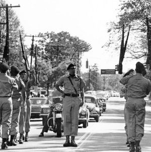 NCSU's Pershing Rifles participating in a parade