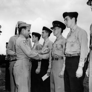 Officers awarding cadets with medals
