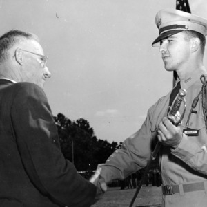 H. W. Taylor greeting cadet Briley