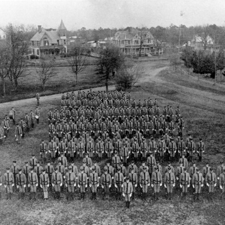 Battalion of North Carolina College of Agriculture and Mechanic Arts military cadets near Hillsborough Street, Raleigh