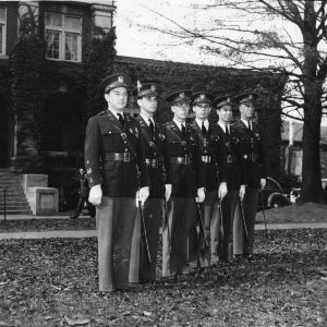 ROTC cadets in front of the YMCA Building