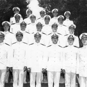 Group photo of U.S. Navy ensigns studying diesel engineering at NC State
