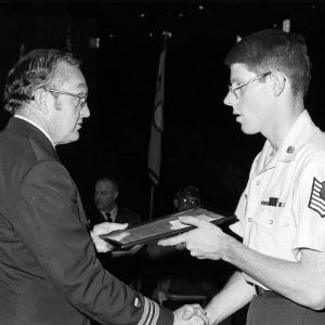 AFROTC cadet receiving an award