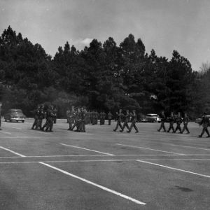 NC State ROTC cadets in marching formation