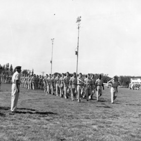 Air Force ROTC marching in formation