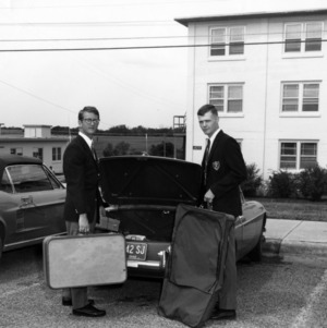 NC State Air Force ROTC cadets carrying luggage
