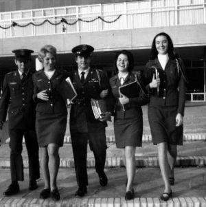 Male and female cadets at student union