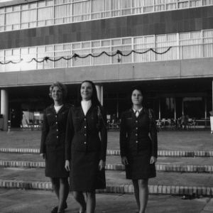 Female cadets posing in front of student union