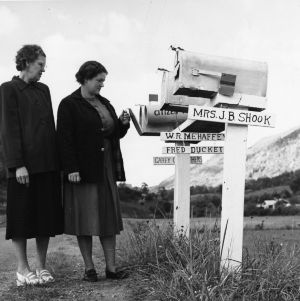 Two women checking mailbox on Buncombe County rural road