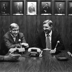 Athletic staff Bill Jackson, Lou Holtz, Norman Sloan, and Wally Ausley