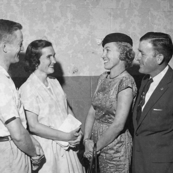 """Children and [?]"" Panel Members: Left to Right: Ray M. Ritchie, Jr., Mrs. Ritchie, Mrs. Clyde Keisler and Mr. Keisler, all of Wake County. Farm and Home Week, 1957"
