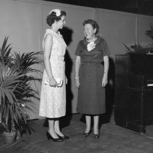 """Fashion Show"" - Mrs. Mavis Gibbs, Narrator (right), Southern Planter, Richmond, Va, 1957 Farm Home Week"