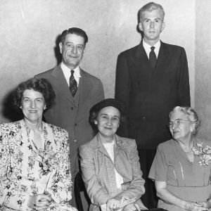 Jane S. McKimmon, Ruth Current, and others in New York for the radio dramatization of McKimmon's life story