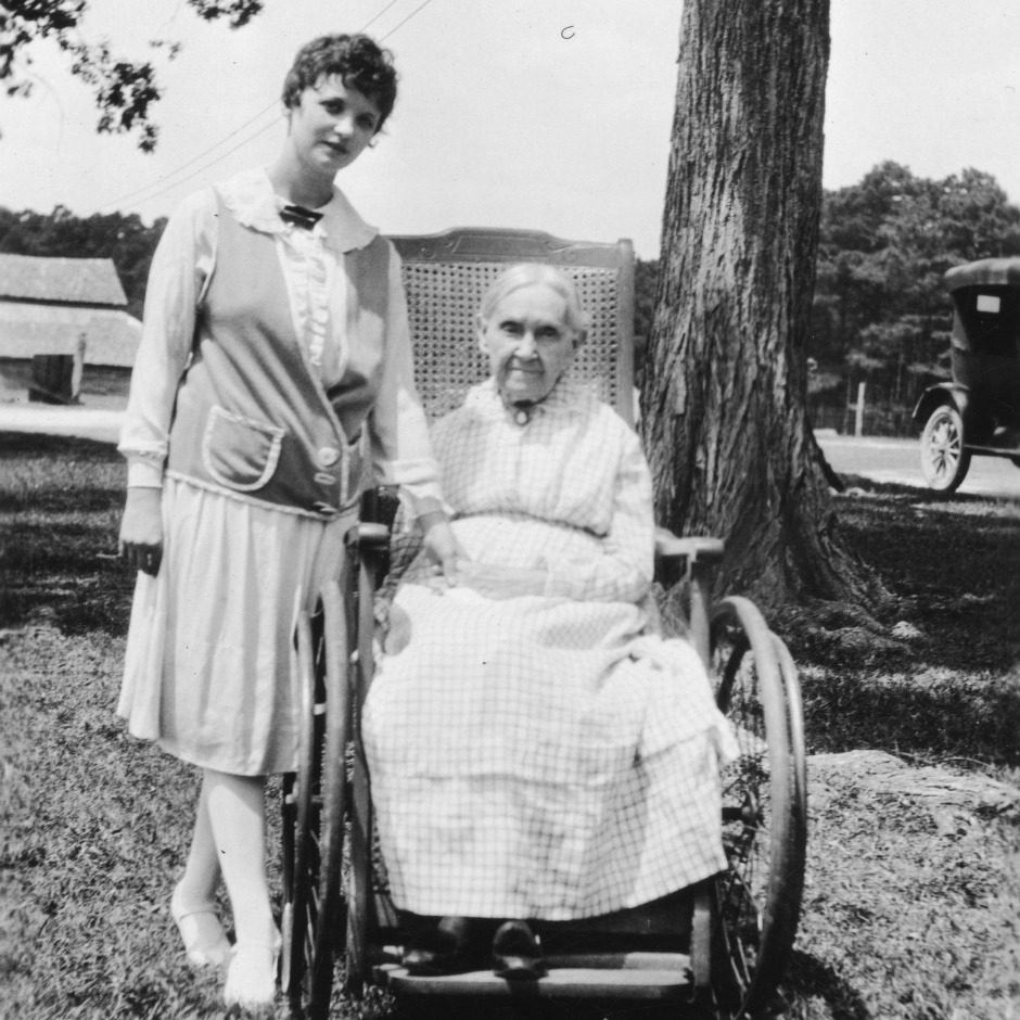 Celeste Smith, oldest Home Demonstration club member in Franklin County, and unidentified woman, 1927