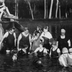 Women swimming in White Lake at a Home Demonstration women's encampment