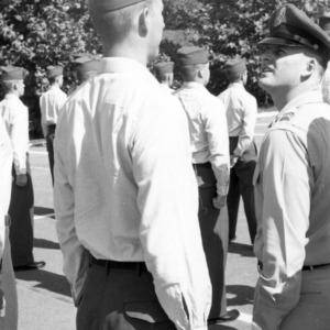Officers inspect cadets in formation