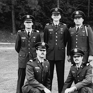 Military personnel posing for picture