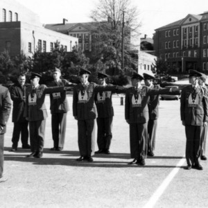NC State ROTC cadets being initiated by officers