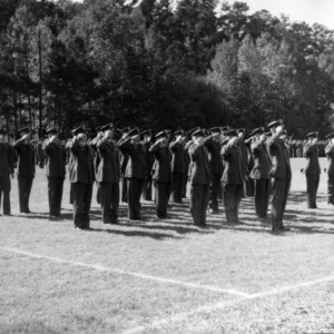 Air Force ROTC standing at attention