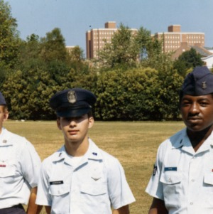 Military personnel posing for the camera