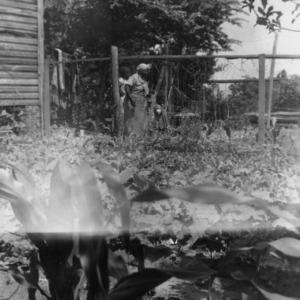 Eliza Drake of Red Springs, North Carolina in a garden