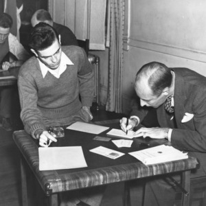 North Carolina State College students registering for selective service, October 16, 1940.