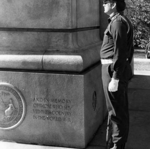 Cadet standing guard at the Memorial Bell Tower