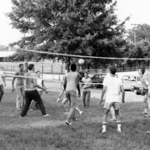 NC State ROTC cadets playing volleyball at picnic