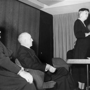 Mrs. L. P. Pate, Frank Porter Graham, and Eleanor Roosevelt at United Nations