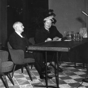 Frank Porter Graham and Mrs. L. P. Pate at United Nations seminar