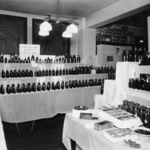 An exhibit of products from the Muscadine grapes on Branch Experimental farm, Willard, N.C.