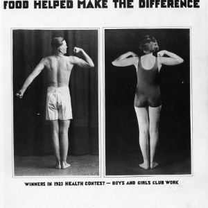 Teenage winners of 1923 health context , flexing their muscles