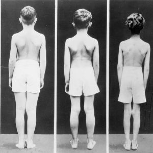 Back view of five different standing boys