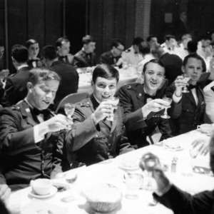 Officers and cadets at military banquet