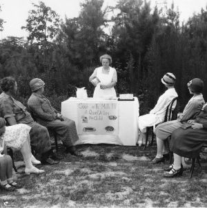 """Cook with milk!!! A quart a day per child."" Home demonstration by Mrs. Jonathan Danson, Duplin County, North Carolina"