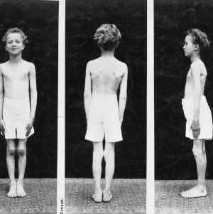 Front view, back view, and side view and of a young boy standing