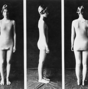 Front view, side view, and back view of a woman